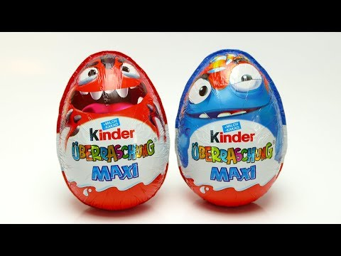Thumbnail: 2 Monster Kinder Maxi Surprise Eggs with Toys