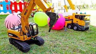 포크레인, 덤프트럭 중장비 자동차 장난감 색깔 풍선 물놀이 Excavator, Dump Truck Car Toy for Kids
