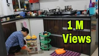 Morning Indian Kitchen Cleaning Routine | Daily Cleaning In 15 Minutes | Indian Kitchen Cleaning