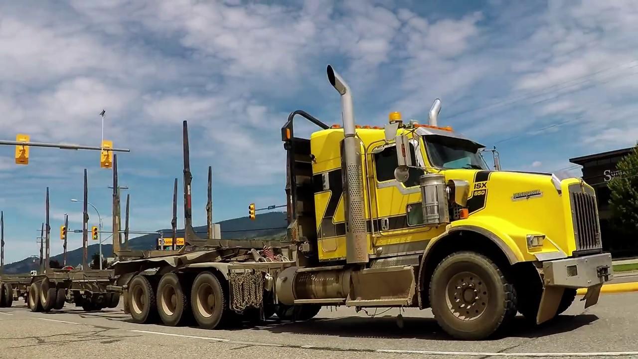 b c logging trucks 17 jf logging kenworth t800 peterbilt 367h cummins power [ 1280 x 720 Pixel ]