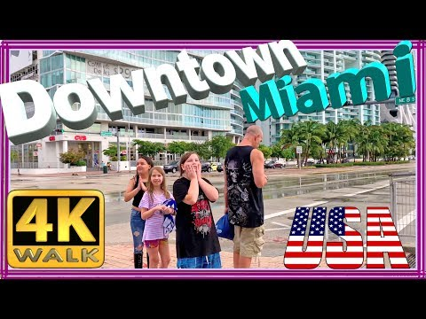 【4K】WALK Downtown Miami walking tour Florida 4k documentary USA 2019