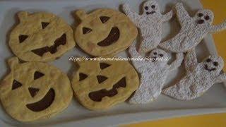 Biscotti fantasmini e zucche,ricetta  semplice per  Halloween