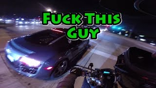 Audi r8 Nearly Hits Motorcycle. Confrontation