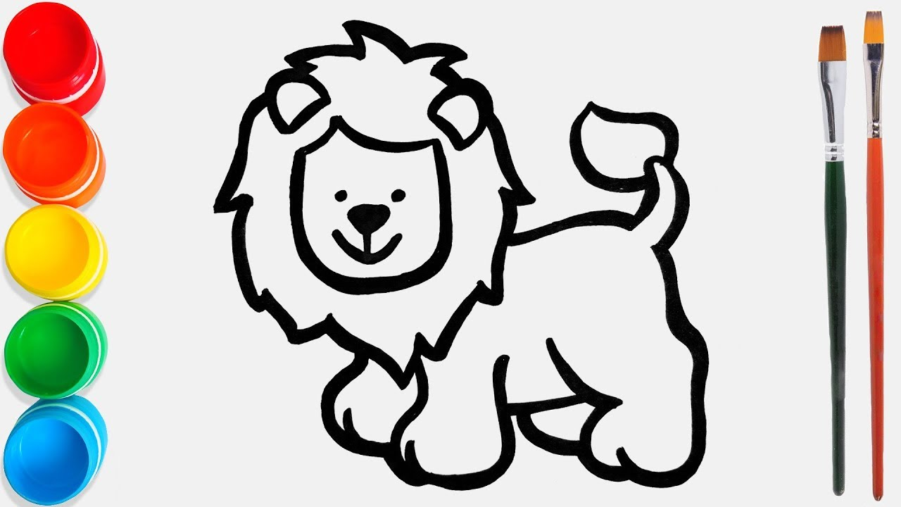 I Draw And Color A Cheerful Standing Lion For Kids Toddlers