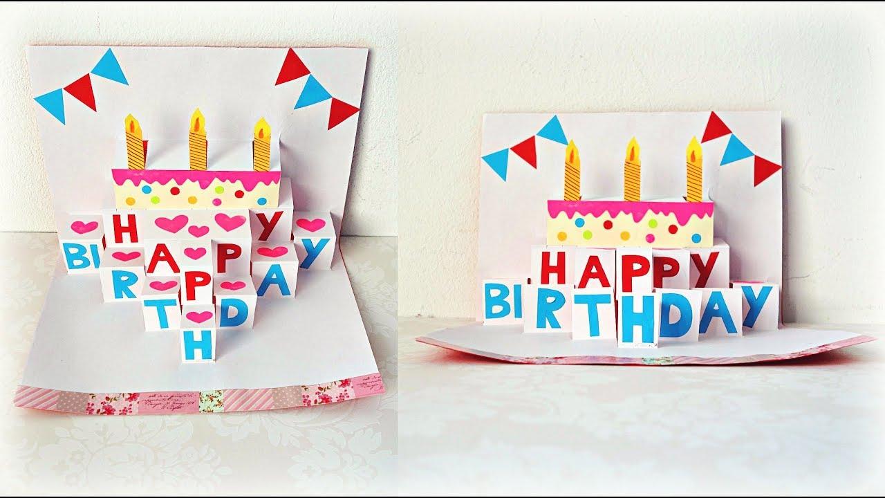 Beautiful Birthday Card Idea| Pop Up Birthday Greeting Card| DIY Handmade Pop Up Cake Card