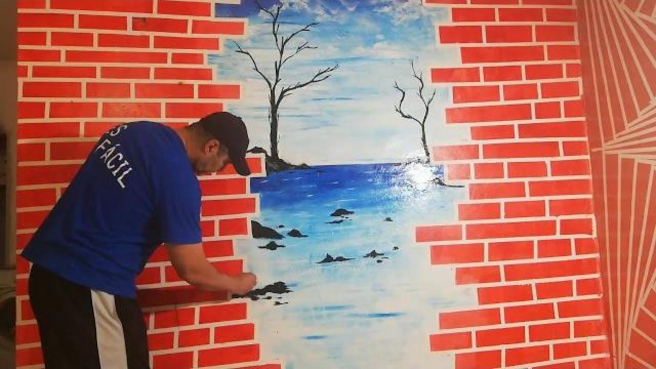 Geometric Wall Painting 3d Wall Texture Designs Ideas Diy Wall Art Youtube