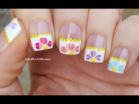 French Manicure Designs 9 Spring Flower Nail Art With Needle