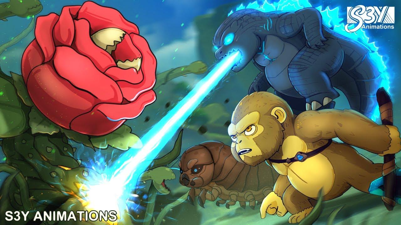Download Baby Godzilla, Kong, Mothra Larva vs. Biollante – Animation 6