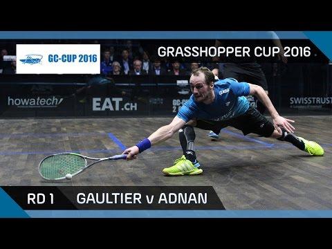 Squash: Gaultier v Adnan - Grasshopper Cup 2016 - Rd 1 Highlights