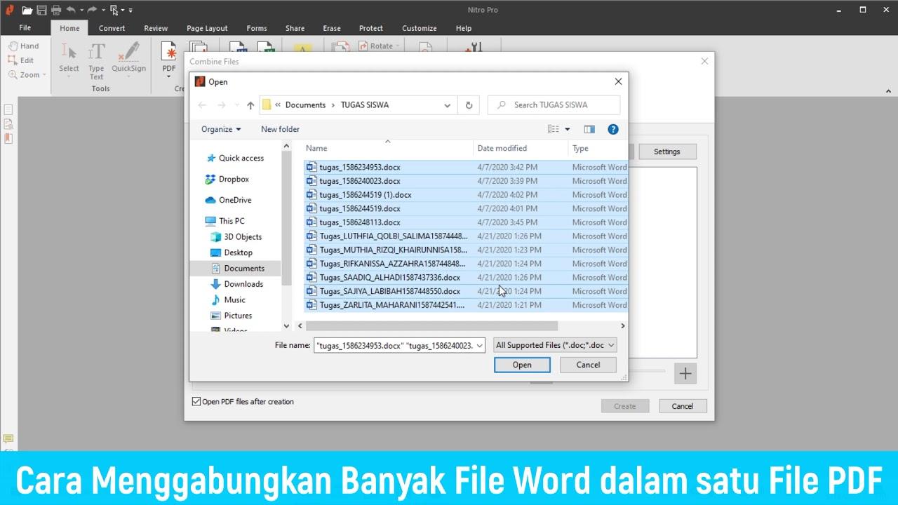 Cara Menggabungkan Banyak File Word Ke 1 File Pdf Youtube