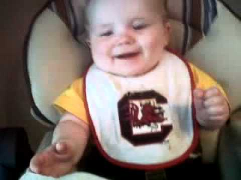 Gamecock Baby Laughing at Napkin!