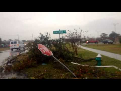 Morehead City Tornado Damage - Carteret Community College -  EL's Drive In - Damage 11-27-2013