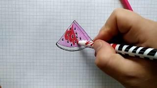 Как нарисовать АРБУЗ. Шаг за шагом просто рисуем простые рисунки! Уроки рисования.