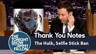 Thank You Notes: The Hulk, Selfie Stick Ban