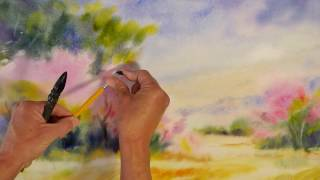 Promenade en Provence - Démo aquarelle en mouillé sur mouillé (wet on wet watercolor)