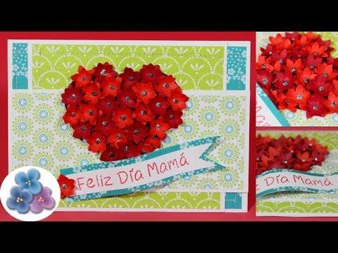 Tarjetas de Amor Corazon con Flores 3D Dia de la Madre y Amor San Valentin *DIY Pintura Facil