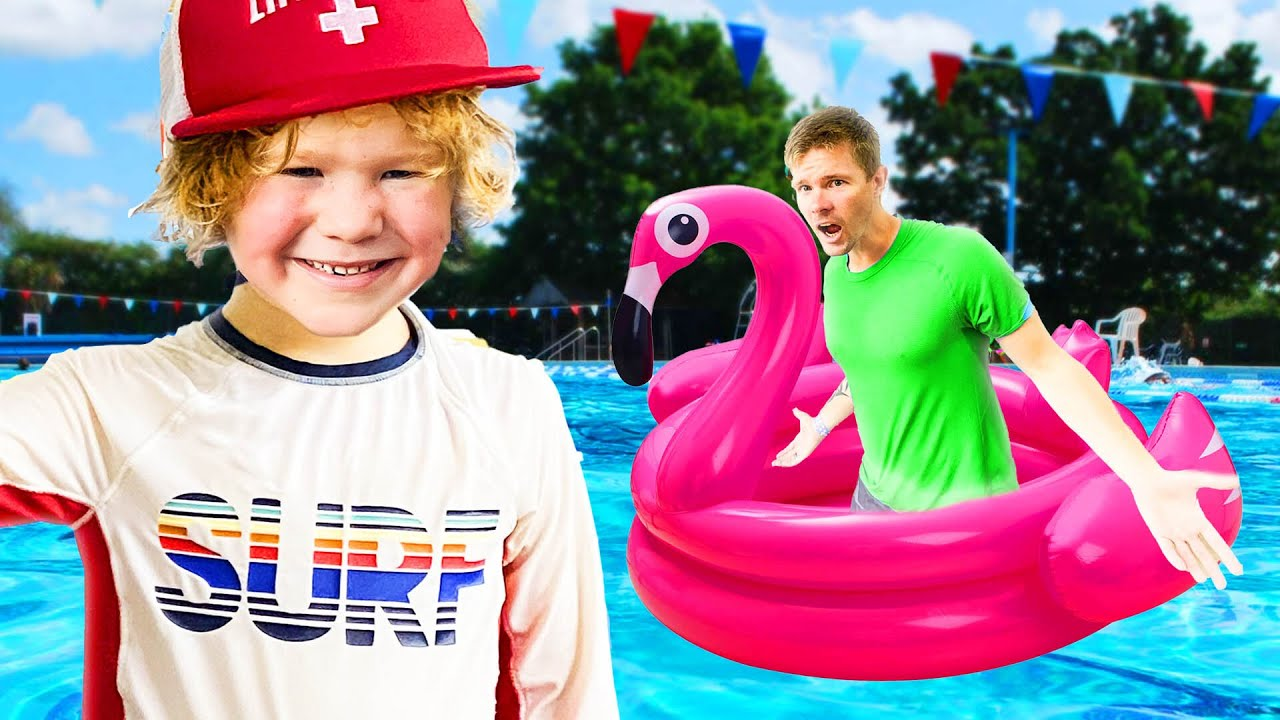 Kids Lifeguard Is ON DUTY! Can Dad Escape Him?