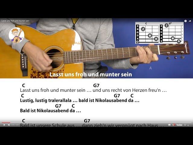 Lasst uns froh und munter sein, Nikolauslied mit nur 2 Akkorden & Text für Gitarre