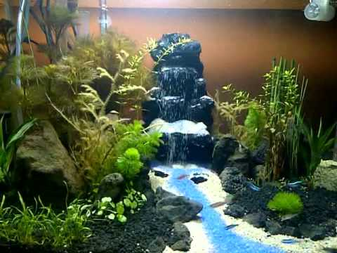 Aquascape waterfall diy youtube for Waterfall fish tank
