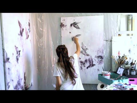 THE FLIGHT - Flying birds Oil Speed Painting