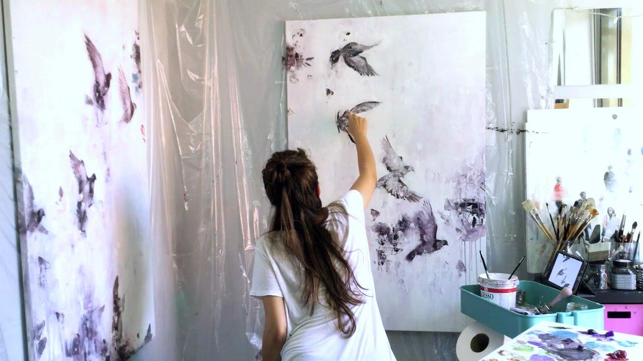 THE FLIGHT - Flying birds Oil Speed Painting - YouTube