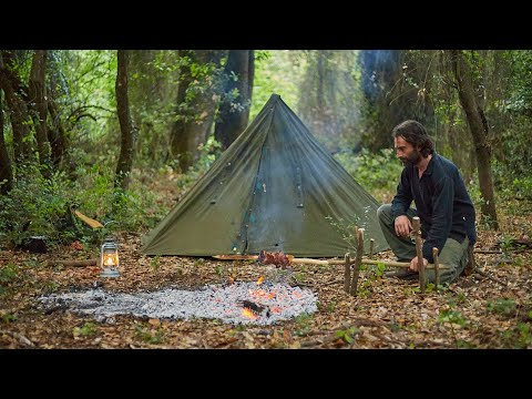 solo-4-days-bushcraft,-2-camps,-polish-lavvu,-carving-a-cup,-making-a-pot-hanger-and-rotisserie...
