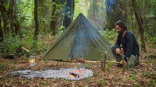 Solo 4 Days Bushcraft, 2 camps, Polish Lavvu,  carving a cup,  making a pot hanger and rotisserie...