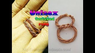 Unisex twisted ring from copper wire - DIY handmade jewelry 343