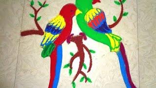 how to make 3D twins parrot rangoli