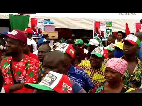 Governor Obaseki addresses crowd of supporters in Egor L.G.A, Benin City.