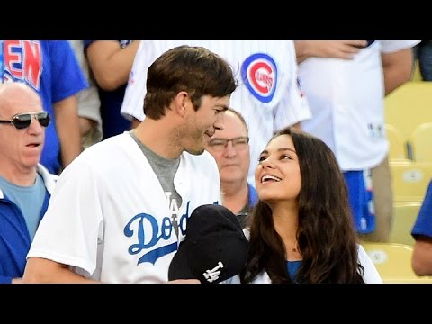 Ashton Kutcher and Mila Kunis Show Off Sweet PDA While Announcing Lineup at Dodgers Playoff Game