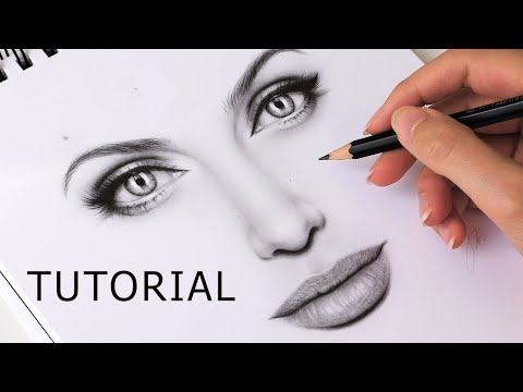 How to Draw Eyes, Nose and Lips (Mouth) - EASY TUTORIAL Step by Step thumbnail