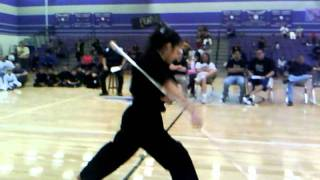 Black belt with amazing bo staff kata