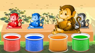 Bathing Colors Fun Farm Animals  Learn Colors with Animals    Colours With Monkey for Kids  #13