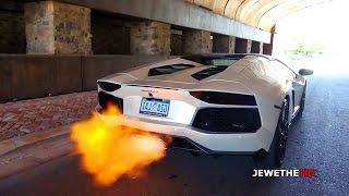 Lamborghini aventador w/ armytrix titanium exhaust shooting flames!! loud sounds!
