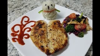 Butterfly chicken with mash potato and stir-fry veges recipe by easy cooking with Shazia