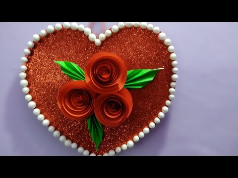 DIY beautiful heart  showpiece//gift ideas 2018||wall hanging decoration//heart decoratio by Rose