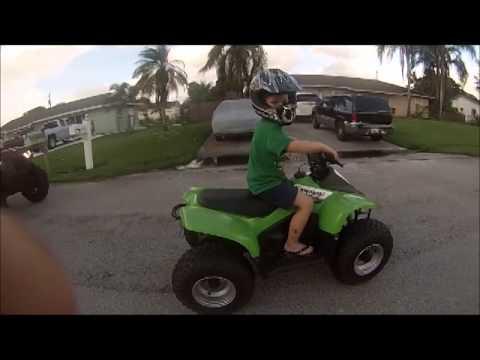 My 4 year old tearing it up on his Kawasaki KFX-50 ATV 50cc quad LT
