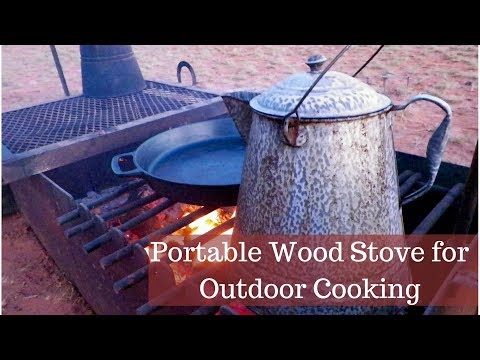 Portable Wood Fire Box or Stove for Outdoor Cooking