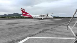 Download Video Loud airmauritius ATR72-500 going to the runway and takeoff MP3 3GP MP4
