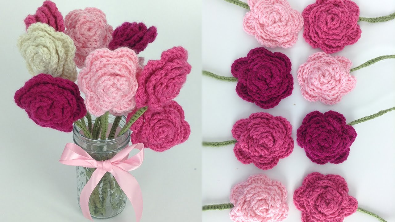 Crochet rose bouquet free pattern right hand youtube izmirmasajfo