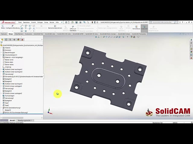 SolidCAM 2020 – Bohrjob Sychn Multiposition