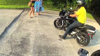 Picking up two Chicks on a Motorcycle