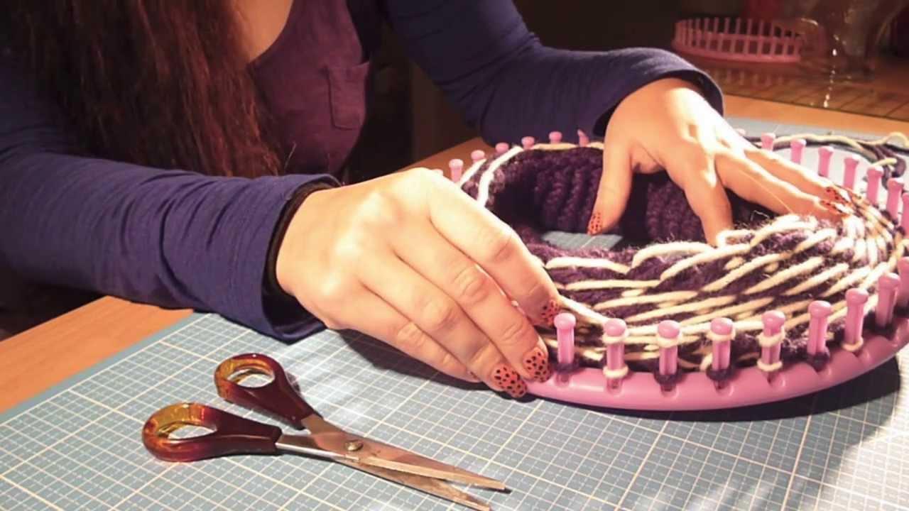 mtzebeanie mit muster stricken mit dem knitting loom bzw strickring schrgstreifen youtube - Strickrahmen Muster