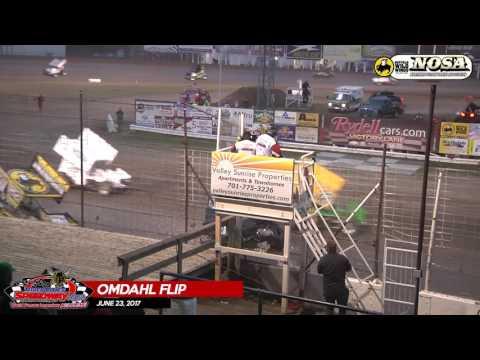Nick Omdahl Crash - River Cities Speedway - June 23, 2017