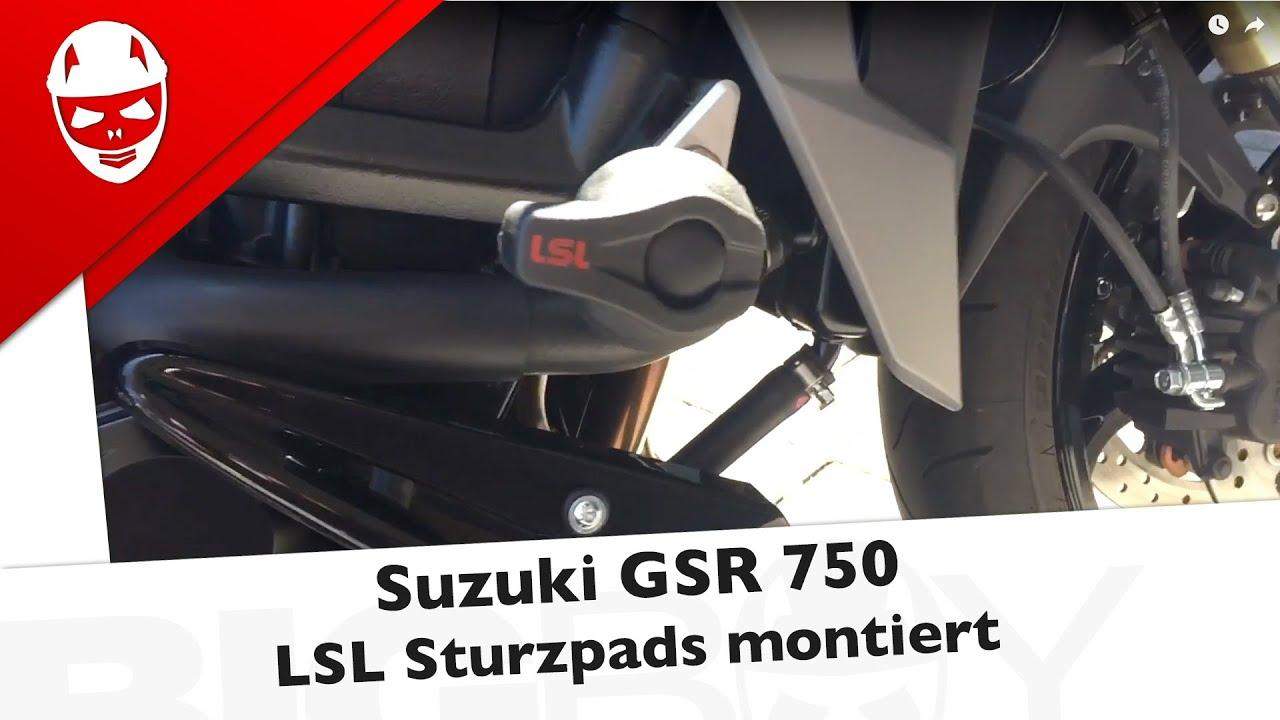 Suzuki GSR 750 - LSL Sturzpads montiert - YouTube