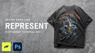 How To Design Shirts Like REPRESENT Photoshop Streetwear Tutorial FREE DOWNLOAD 2021