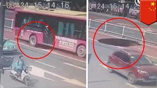 Sinkhole Caught On Tape Bus In China Nearly Swallowed By Giant Sinkhole TomoNews