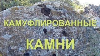 Камуфлированные огромные камни  Мох разных цветов на больших булыжниках