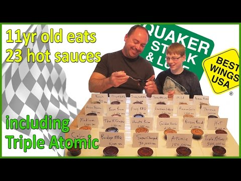 11-yr-old Eats Triple Atomic & 22 Other Quaker Steak & Lube Sauces : Crude Brothers